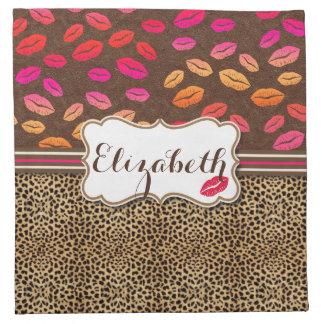 Besos de los labios del estampado leopardo servilletas de papel