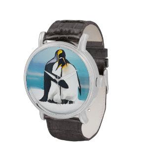 Besos del amor del pingüino relojes de pulsera