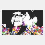 Besos del arco iris rectangular pegatina