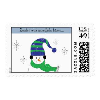 Besos del copo de nieve sellos postales