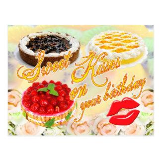 ¡Besos del dulce en su cumpleaños! Tarjetas Postales