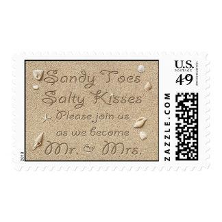 Besos salados de los dedos del pie de Sandy de la Timbres Postales