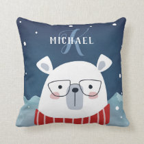 Bespectacled Polar Bear   Monogram Throw Pillow