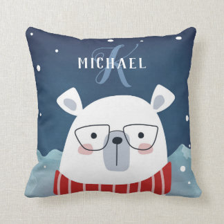 Bespectacled Polar Bear | Monogram Throw Pillow