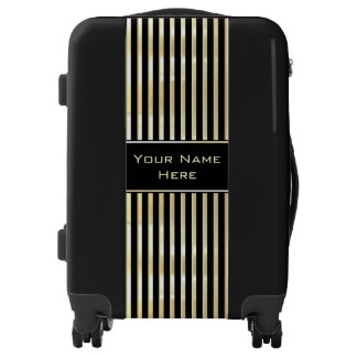 Bespoke Personalized Gold Flare Striped Luggage