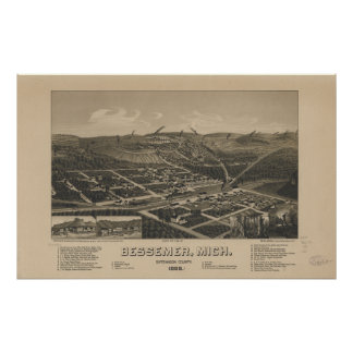 Bessemer Michigan 1886 Antique Panoramic Map Poster
