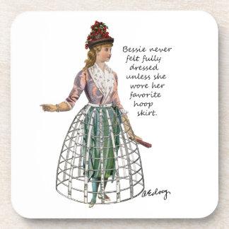Bessie and Her Hoop Skirt Cork Coasters
