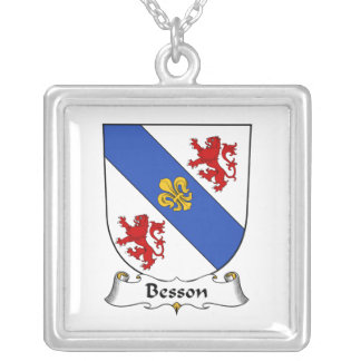 Besson Family Crest Square Pendant Necklace