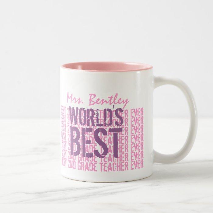 Best 2nd Grade Teacher Add Name Purple Pink B34 Two-Tone Coffee Mug
