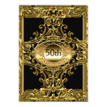 Best 50th Gold Black Birthday Party Personalized Invites