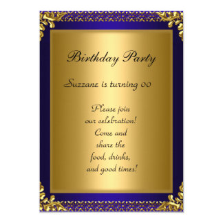 Best 50th Gold Blue Birthday Party 5x7 Paper Invitation Card