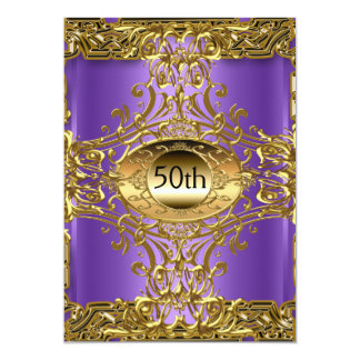 Best 50th Gold Purple  Birthday Party 5x7 Paper Invitation Card