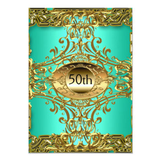 Best 50th Gold Teal Birthday Party Card