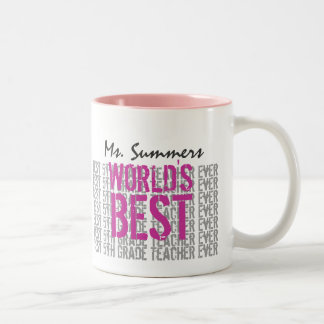 Best 5th Grade Teacher Add Name Gray Pink G303 Two-Tone Coffee Mug