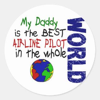 Best Airline Pilot In World 2 (Daddy) Classic Round Sticker