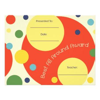 Best All Around Award Certificate - Polka Dots Letterhead