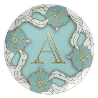 Best Alphabet Letter Initial Monogram Background Dinner Plate