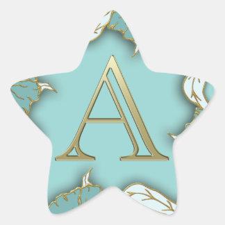 Best Alphabet Letter Initial Monogram Background Star Sticker