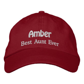 Best Aunt Custom Name V05 RED with WHITE Thread Embroidered Hat