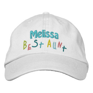 BEST AUNT Custom Name WHITE A03 Embroidered Hat