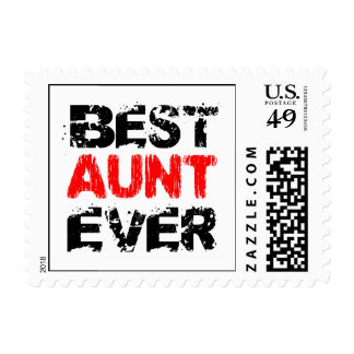 Best AUNT Ever Grunge Style Red and Black Z802 Postage