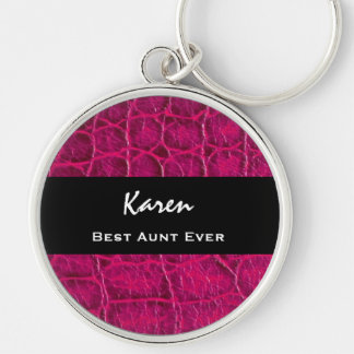 Best AUNT Ever Hot Pink Alligator Print Gift Idea Silver-Colored Round Keychain