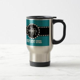 Best AUNT Ever Monogram and Custom Name TEAL V01 Coffee Mugs