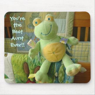 Best Aunt Ever! mousepad Green Frog Stuff Animals