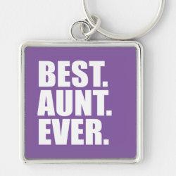 Premium Square Keychain with Best. Aunt. Ever. (purple) design