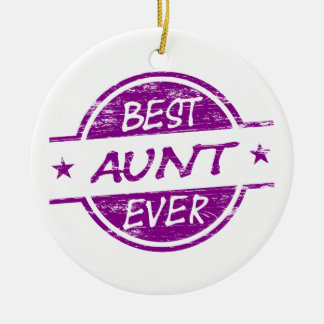 Best Aunt Ever Purple Double-Sided Ceramic Round Christmas Ornament