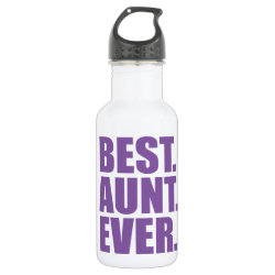 Water Bottle (24 oz) with Best. Aunt. Ever. (purple) design