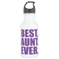 Water Bottle (24 oz) with Best. Aunt. Ever. (purple) design