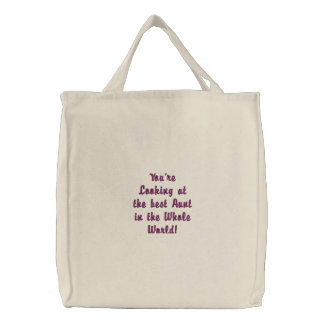 Best Aunt in the Whole World Embroidered Tote Bag