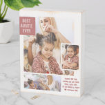 Best Auntie Ever | Modern Photo Collage Wooden Box Sign