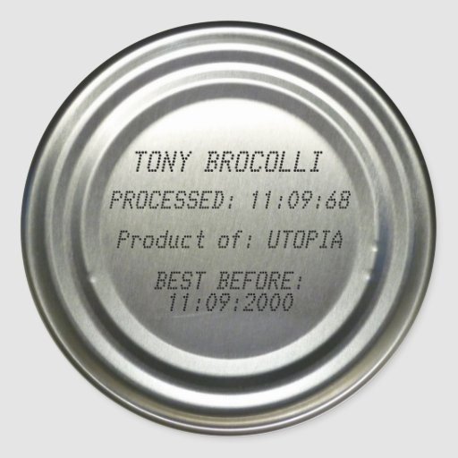 'Best Before' Can Lid- Custom Classic Round Sticker