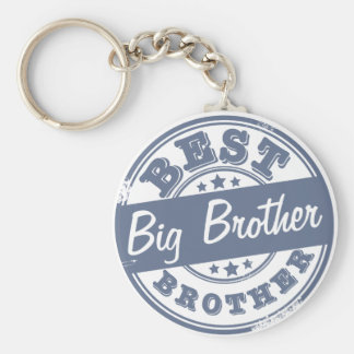 Best Big Brother - rubber stamp effect - Basic Round Button Keychain