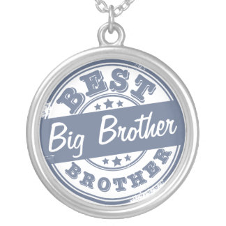 Best Big Brother - rubber stamp effect - Silver Plated Necklace