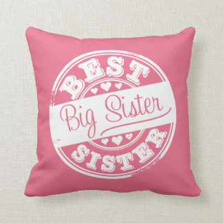 Best Big Sister -rubber stamp effect- Pillow