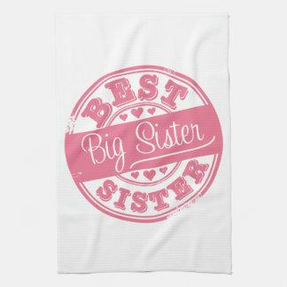 Best Big Sister -rubber stamp- Hand Towels