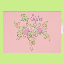 Best Big Sister Swirling Hearts Card