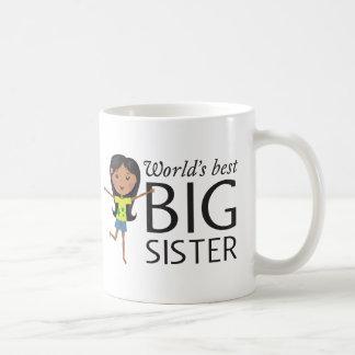 Best big sister with happy cartoon girl cup coffee mug