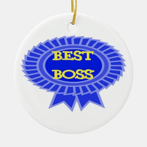 Best Boss Award Double Sided Ceramic Round Christmas