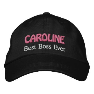 Best Boss Custom Name BLACK and PINK Embroidered Baseball Cap