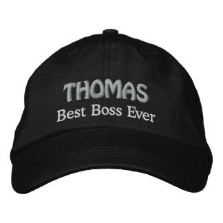 Best Boss Custom Name BLACK and SILVER V06 Embroidered Baseball Hat