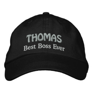 Best Boss Custom Name BLACK and SILVER V06 Embroidered Hats
