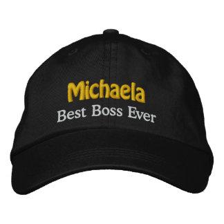Best Boss Custom Name BROWN WHITE GOLD Thread Embroidered Baseball Hat