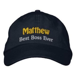 Best Boss Custom Name NAVY WHITE GOLD Thread V01 Embroidered Baseball Cap