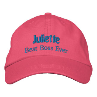 Best Boss Custom Name PINK with BLUE Thread Embroidered Baseball Cap