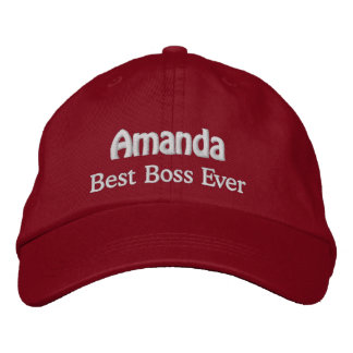 Best Boss Custom Name RED with WHITE Thread Embroidered Baseball Caps