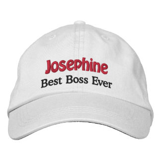 Best Boss Custom Name WHITE with BLACK and RED Embroidered Baseball Caps
